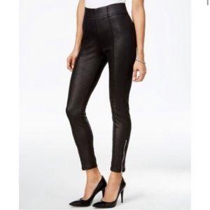 7FAMK Moto Style Black Skinny Zip Ankle Pants